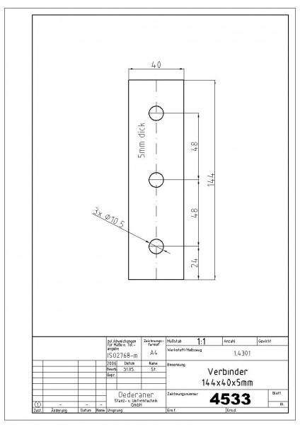 4533 Verbinder 144x40x5mm Abmessung 5x40x144 / Material 1.4301