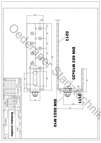 Dachhaken für Metallschindel / Schiefer / Prefa Vario höhenverstellbar