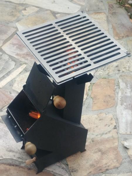 Raketenofen Rocket Stove 3mm Stahl für Dutch Oven + Grill Campingkocher