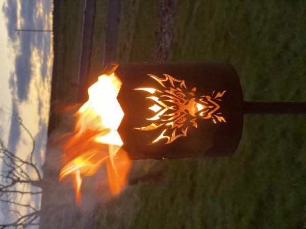 Gartenfackel Fackeln Windlicht Gartenbeleuchtung Drachenmotiv