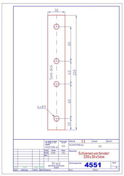 4551 Schienenverbinder 200x30x5mm Abmessung: 5x30x200 / Material 1.4301