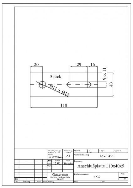 4539 Anschlußplatte 110x40x5 Abmessung 5x40x110 / Material 1.4301